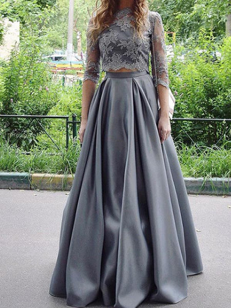 Elegant Grey Two Pieces Lace Top Half Sleeves Floor Length Evening Prom Dresses, SW0028
