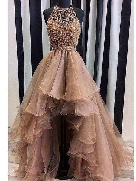 Organza with Beaded Bodice Halter High Low Prom Dress DPB131