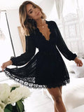 Charming Black Lace Long Sleeves Deep V-Neck Short Homecoming Dresses, SW0020