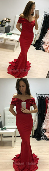 Charming Red Off the Shoulder Mermaid Sweep Train Evening Prom Dresses, SW0056