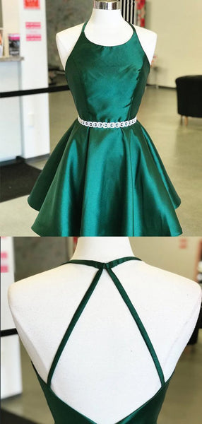 Simple Halter Backless Satin A Line Short Homecoming Dress, BTW260