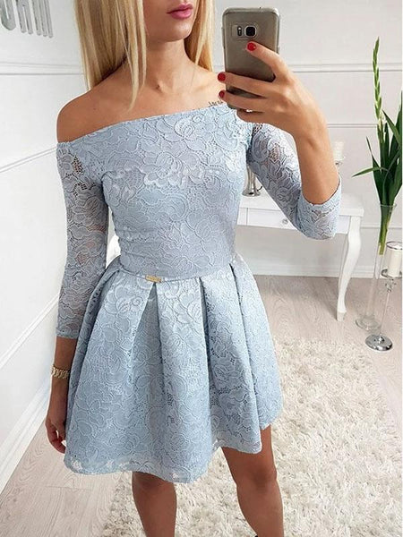 Elegant Off The Shoulder 3/4 Sleeves Lace A Line Short Homecoming Dresses, BTW241