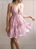 Elegant Dusty Rose V Neck Lace A Line Short Homecoming Dresses, BTW273