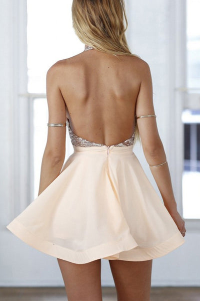 Sparly Halter Sequin Backless Satin A Line Short Homecoming Dress, BTW276