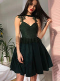 Fashion Lace Top Spaghetti Strap A Line Short Homecoming Dress, BTW251