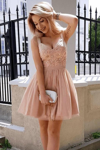 Elegant Dusty Pink Lace Applique Tulle A Line Short Homecoming Dresses, BTW277
