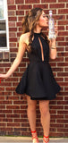 Simple Black Halter Satin A Line Short Homecoming Dress, BTW288