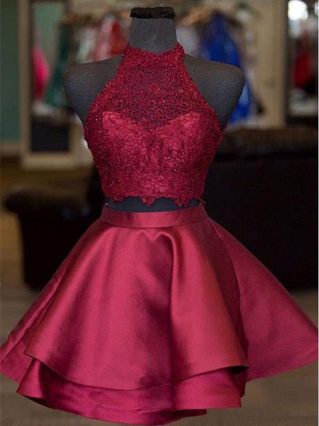 Gorgeous Burgundy Lace Top Satin A Line Short Homecoming Dress, BTW232