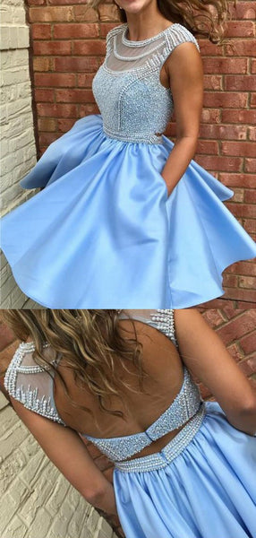 Gorgeous Round Neck Open Back Beaded A Line Short Homecoming Dress, BTW252
