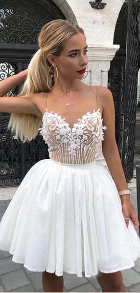 Pretty Spaghetti Strap Lace Appliique A Line Short Homecoming Dress, BTW289