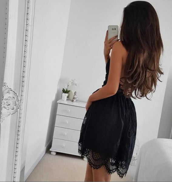 Black Spaghetti Strap Lace Backless A Line Short Homecoming Dress, BTW253