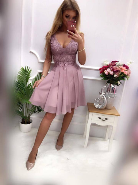 Dusty Purple V Neck Lace Applique Chiffon A Line Short Homecoming Dresses, BTW292