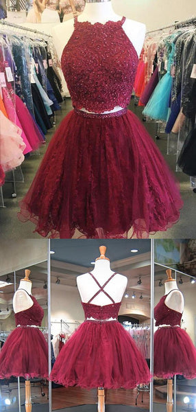 Two Pieces Lace Top Criss-cross Tulle A Line Short Homecoming Dress, BTW233
