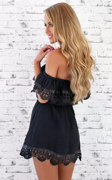 Sexy Off The Shoulder Black Lace Short Homecoming Dress, BTW254