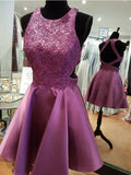Pretty Open Back Lace Applique Satin Short Homecoming Dress, BTW235