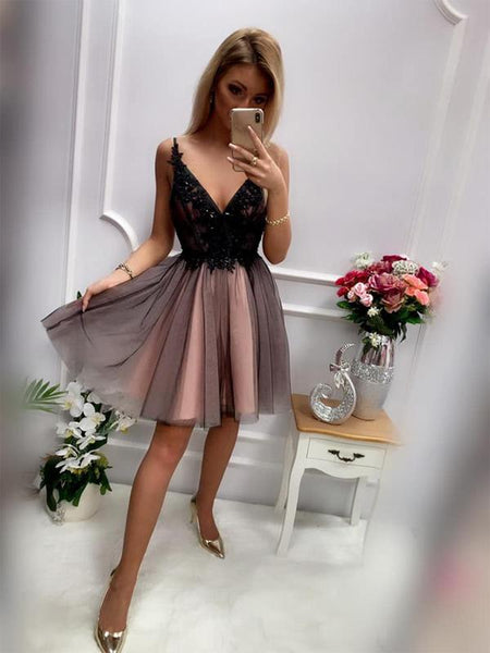 Pretty Deep V Neck Lace Top Tulle A Line Short Homecoming Dress, BTW255