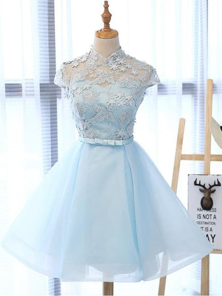 Unique Cap Sleeves Lace Top Tulle A Line Short Homecoming Dress, BTW236