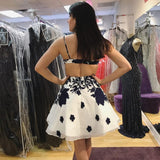 Simple Spaghetti Strap Backless A Line Short Homecoming Dress, BTW256