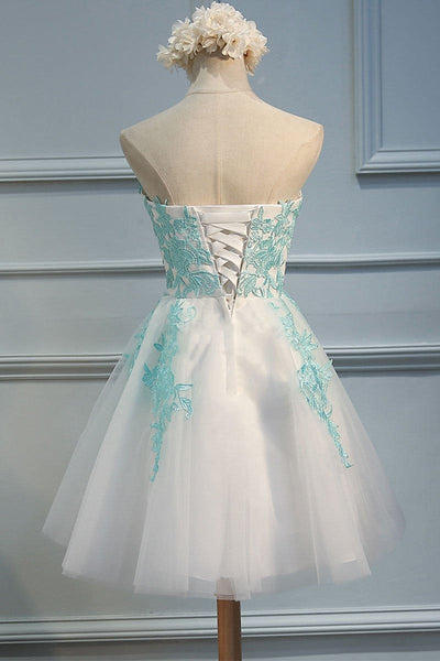 Affordable Sweetheart Lace Applique A Line Short Homecoming Dress, BTW237