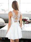 Simple White Lace Round Neck A Line Short Homecoming Dress, BTW239
