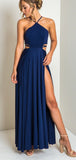 Pretty High Neck Criss Cross Side Slit Royal Blue Long Prom Dresses, DPB161