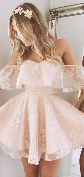 Cheap Off The Shoulder Ruffle Lace A Line Short Homecoming Dresses, BTW162