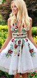 Pretty Deep V Neck Sleeveless A Line Applique Short Homecoming Dress, BTW159
