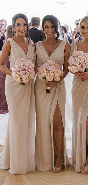 Simple A Line V Neck Sleeveless Floor Length Side Slit Long Bridesmaid Dresses, SW1006