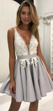 Elegant V Neck Sleeveless Lace Applique A Line Short Homecoming Dress, BTW156