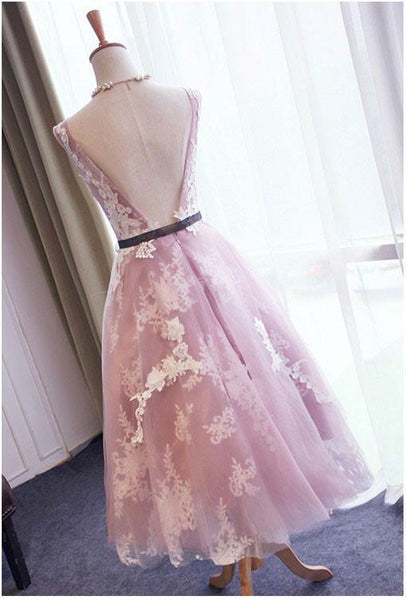 Pretty Open Back Sleeveless Lace Applique Tulle A Line Short Homecoming Dress, BTW144