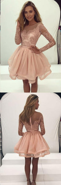Affordable Long Sleeves Lace Top A Line Mini Short Homecoming Dress, BTW145