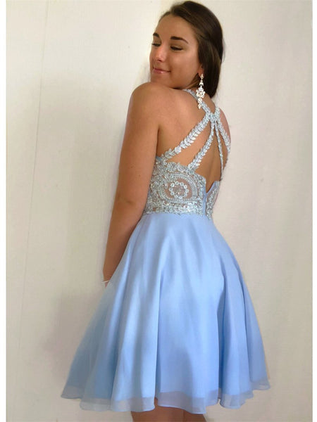Elegant Halter Open Back Organza A Line With Sequin Short Homecoming Dresses, BTW171