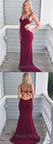Unique Burgundy Sweet Heart Backless Sweep Train Evening Prom Dresses, SW0054