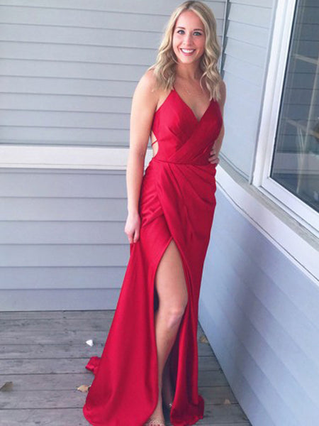 Gorgeous Red Spaghetti Strap V-Neck Side Slit Open Back Sweep Train Evening Prom Dresses, SW0057