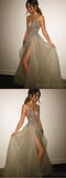 A-line Deep V-neck Backless Split Sweep Train Rhinestone Top Grey Long Evening Prom Dresses, SW0001