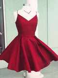 Pretty Burgundy Spaghetti Strap V-Neck Short Homecoming Dresses, SW0024