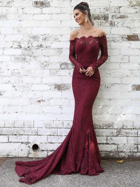 Long Sleeves Lace Maroon Mermaid Off-the-shoulder Prom Dresses DPB132