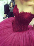 Elegant Off the Shoulder Lace Top Ball Gown Evening Prom Dresses, BW0600