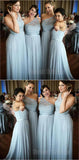Pretty Light Blue Lace Top One Shoulder Long Bridesmaid Dresses , SW0008