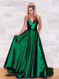 Pretty Green Spaghetti Strap Open Back V-Neck Floor Length Evening Prom Dresses, SW0033
