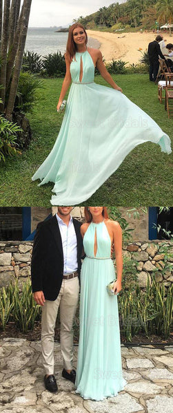 Chic Mint Green Halter Backless Floor Length Evening Prom Dresses, SW0029