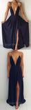 Simple Navy Blue Spaghetti Strap Deep V-Neck Backless Side Slit Long Evening Prom Dresses, SW0037