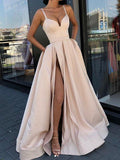 Unique Spaghetti Strap V-Neck Side Slit Long Evening Prom Dresses, BW0611