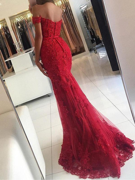 Off-the-shoulder Mermaid Tulle Applique Long Prom Dress DPB135
