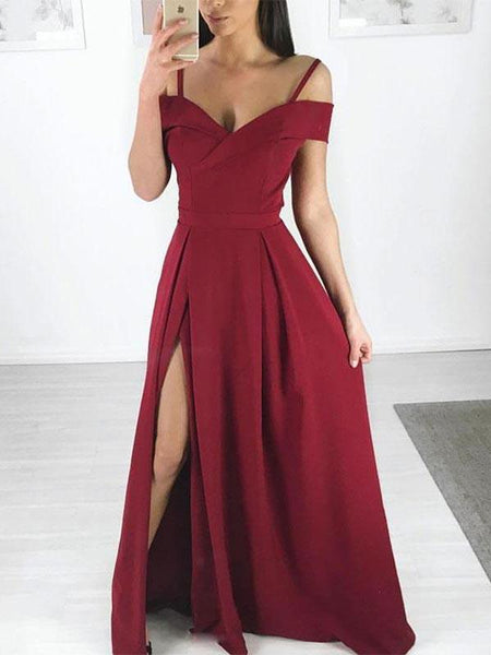 Charming Burgundy Spaghetti Strap Off the Shoulder Side Slit Long Evening Prom Dresses, BW0598