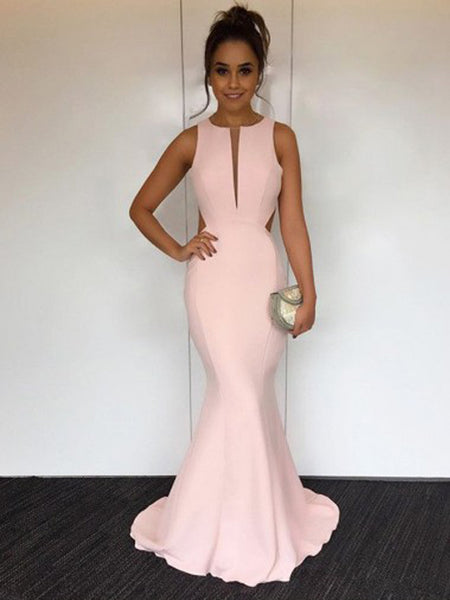 Elegant Pink Sleeveless Mermaid Open Back Sweep Train Evening Prom Dresses, SW0059