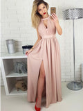 Gorgeous Pink Halter Key Hole Side Slit Unique Back Design Long Evening Prom Dresses, SW0060