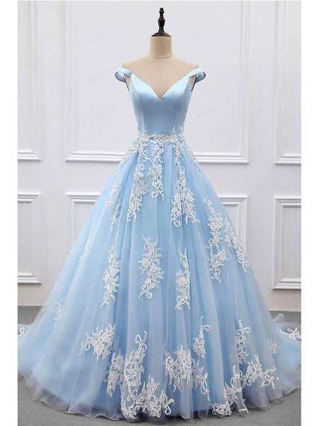 Off-the-shoulder V-neck Blue Tulle Applique Prom Dress Ball Gown DPB129