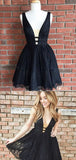 Pretty V Neck Sleeveless Black Lace A Line Short Homecoming Dress, BTW210