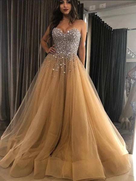 Pretty Sweetheart Beaded Tulle A Line Long Evening Prom Dresses, PD0029